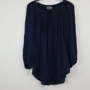 Michael Stars navy Peasant blouse